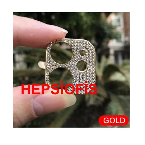 Hepsiofis Apple iphone 11 Elmas Kaplama Kamera Lens Koruyucu Gold Altýn Lens Kamera Koruma