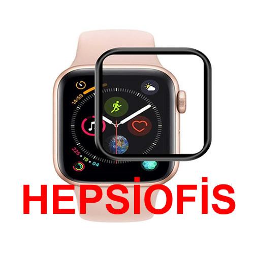 hepsiofis Apple iwatch 4 44mm Tam Kaplayan Temperli Cam Full Ekran Koruyucu Siyah