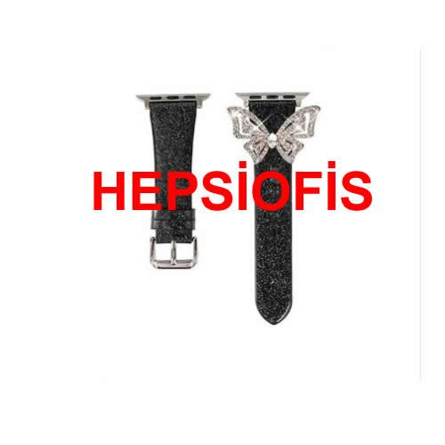 hepsiofis Iwatch 1 2 3 4 5 6 Seri 40mm 2021 Seri Kelebek Kordon Siyah
