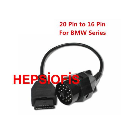 20 Pin yuvarlak 16 Pin diþi OBD2 OBDII Kablosus Arýza TeþhiÞ kABLOSU Dönüþtürücü konnektör adaptör kablosu BMW serisi için