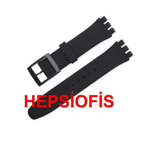 hepsiofis Swatch 20mm Kordon Siyah Silikon Kordon